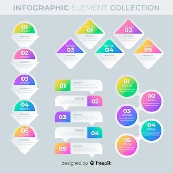 Elementos de infografía con degradado