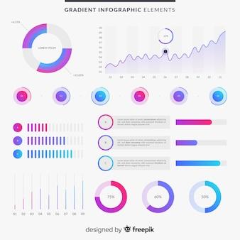 Elementos de infografia con degradado