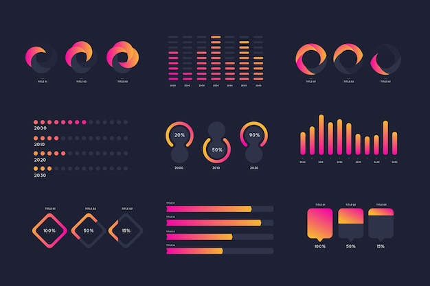 Elementos de infografía degradados de color rosa y naranja