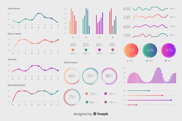 Elementos infografía degradados