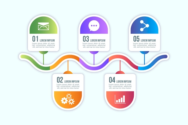 Elementos de infografía de diseño degradado