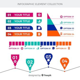 Elementos para infografía en diseño plano