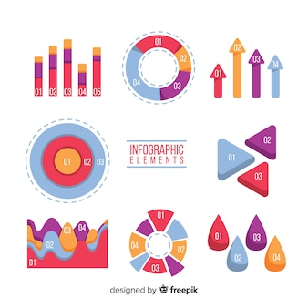 Elementos de infografía en diseño plano