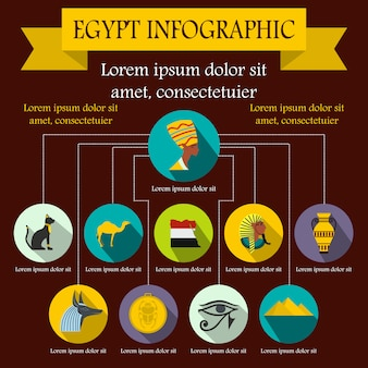 Elementos de infografía de egipto en estilo plano para cualquier diseño.