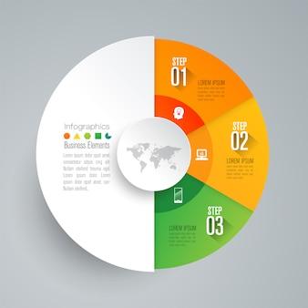 Elementos de infografía empresarial de 3 pasos para la presentación.