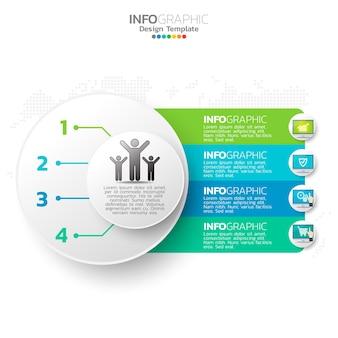 Elementos de infografía empresarial con 4 opciones o pasos tema azul.
