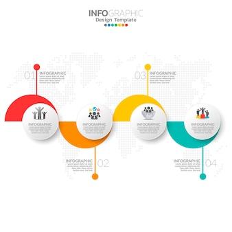 Elementos de infografía empresarial con 4 opciones o pasos.