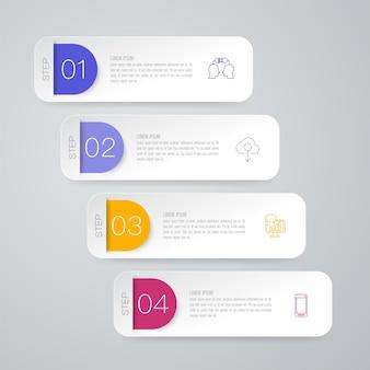 Elementos de infografía empresarial de 4 pasos para la presentación