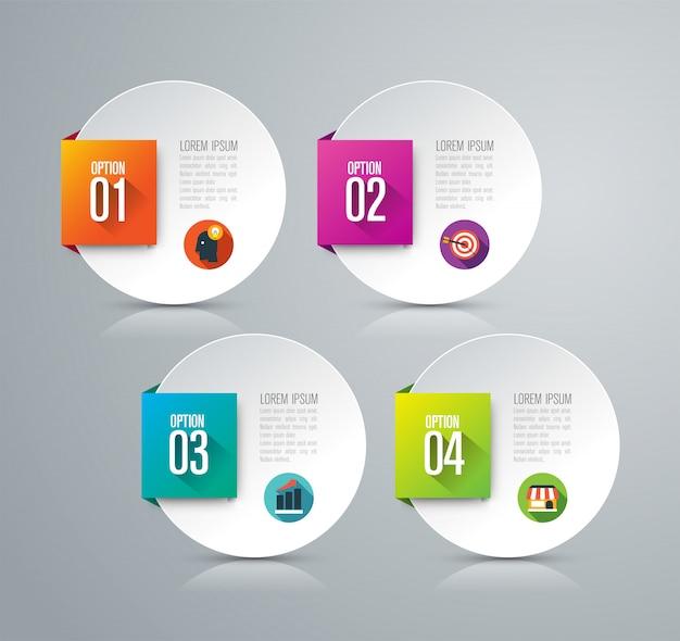 Elementos de infografía empresarial de 4 pasos para la presentación.