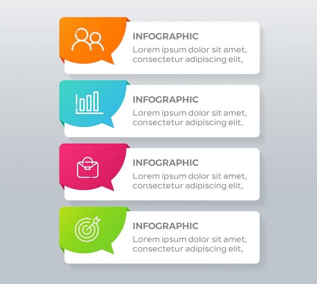 Elementos de infografía empresarial de 4 pasos