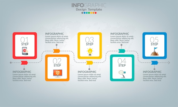 Elementos de infografía empresarial con 5 opciones o pasos.