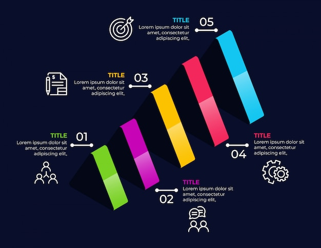 Elementos de infografía empresarial con 5 opciones