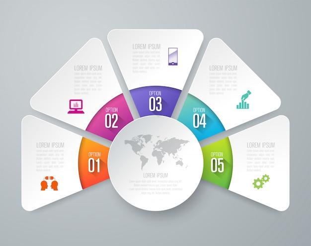 Elementos de infografía empresarial de 5 pasos para la presentación