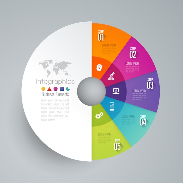 Elementos de infografía empresarial de 5 pasos para la presentación.