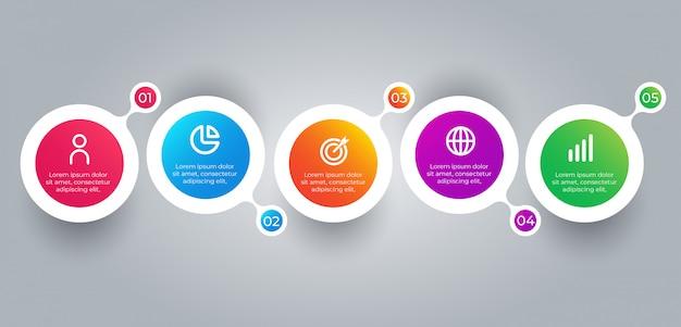 Elementos de infografía empresarial de 5 pasos