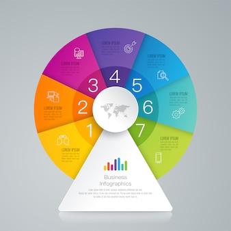 Elementos de infografía empresarial de 7 pasos para la presentación.