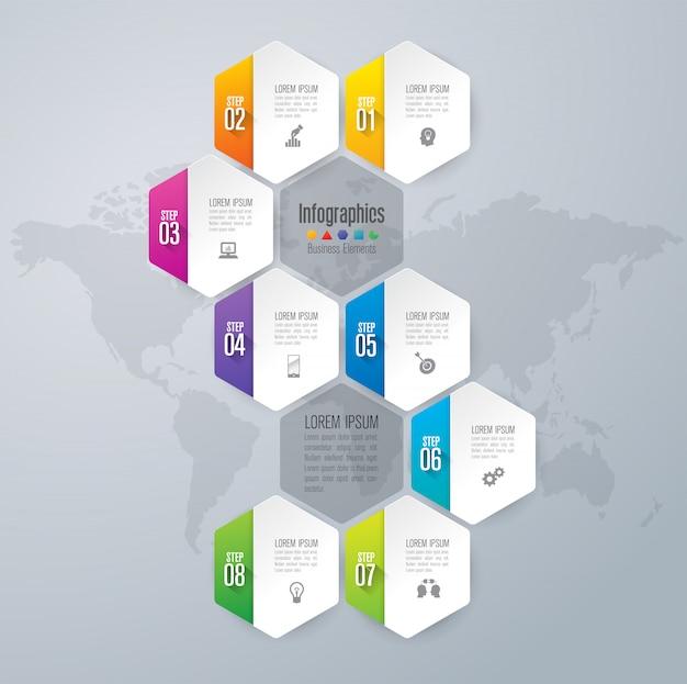Elementos de infografía empresarial de 8 pasos para la presentación.