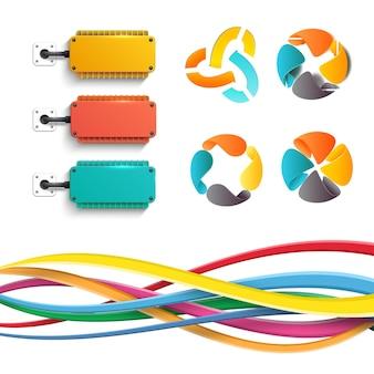 Elementos de infografía empresarial con diagramas de formas de enfriadores eléctricos y líneas entrelazadas en blanco