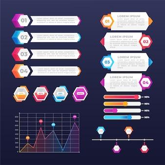 Elementos de infografía empresarial gradiente