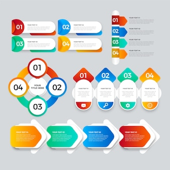 Elementos de infografía empresarial en gradiente