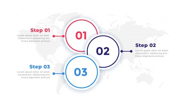 Elementos de infografía empresarial de línea de tiempo de tres pasos