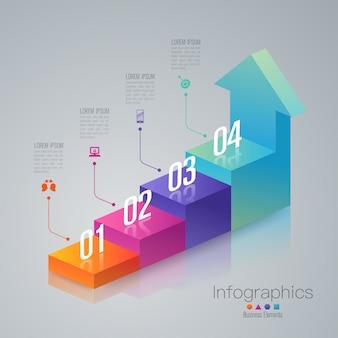 Elementos de infografía de escalera de negocios de 4 pasos.
