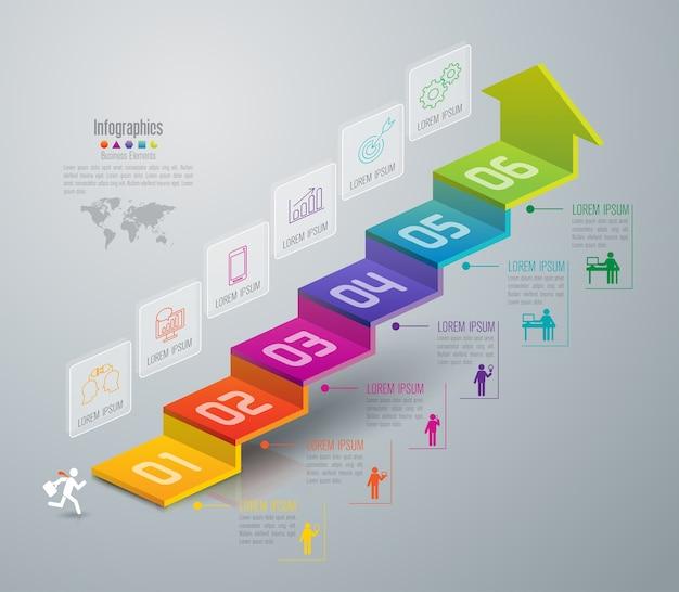 Elementos de infografía de escalera de negocios de 6 pasos.