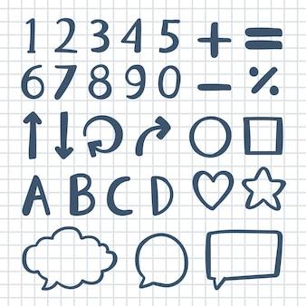 Elementos de infografía escolar dibujados a mano