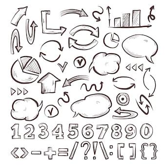 Elementos de infografía escolar dibujados