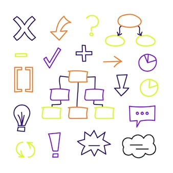 Elementos de infografía escolar en marcadores de colores.