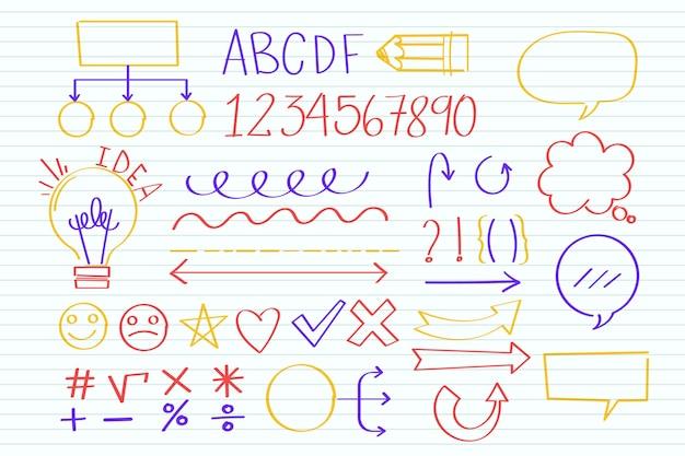 Elementos de infografía escolar con marcadores de colores.