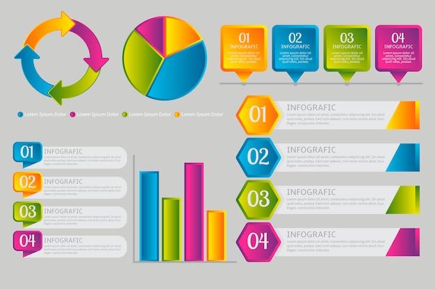 Elementos de infografía en estilo degradado