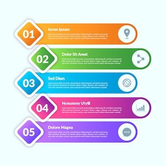 Elementos de infografía estilo degradado