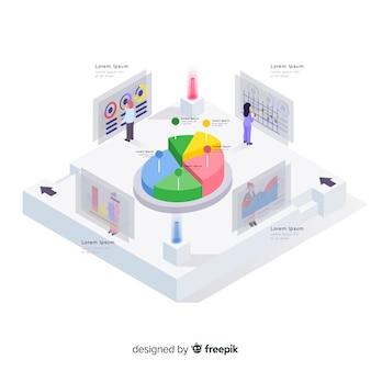 Elementos de infografía en estilo isométrico