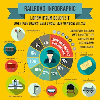 Elementos de infografía ferroviaria en estilo plano para cualquier diseño.