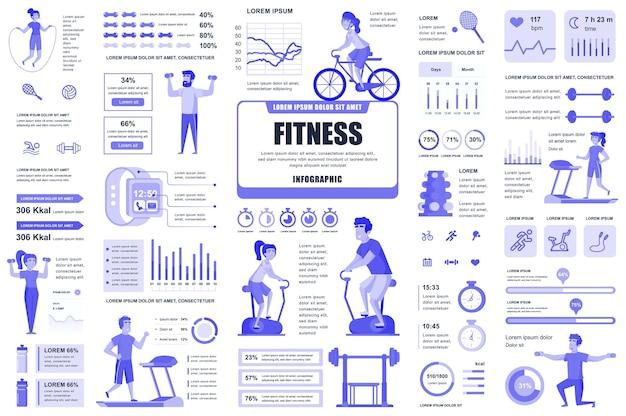 Elementos de infografía de fitness y deportes flujo de trabajo de diagramas de gráficos diferentes