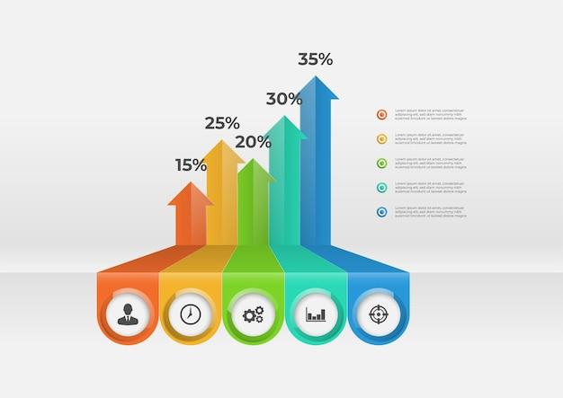 Elementos de infografía de flecha con cinco opciones.