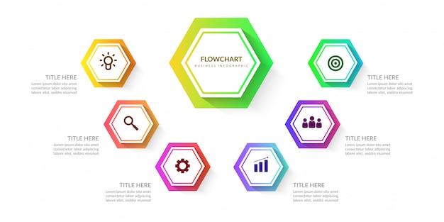 Elementos de infografía de flujo de trabajo coloridos, tabla de procesos de negocios con varios pasos