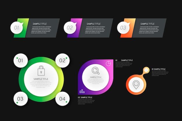 Elementos de infografía gradiente sobre fondo negro con cuadros de texto