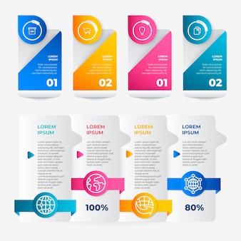 Elementos de infografía gradiente
