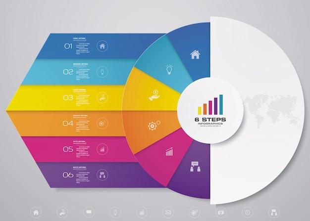 Elementos de infografía de gráfico de ciclo de 6 pasos para presentación de datos.