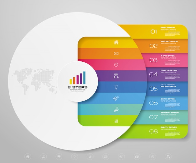 Elementos de infografía de gráfico de ciclo de 8 pasos para presentación de datos.