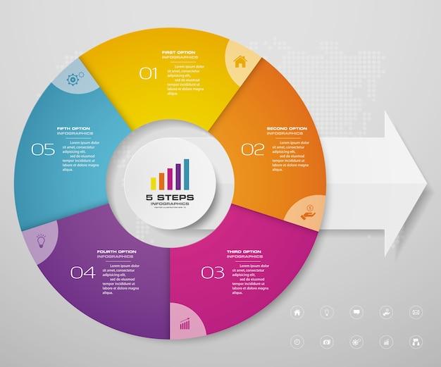 Elementos de infografía de gráfico de ciclo para presentación de datos.