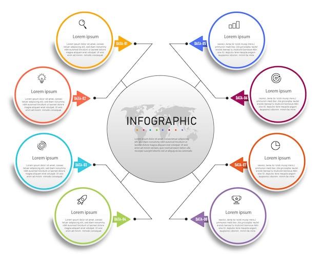 Elementos de infografía de gráfico de círculo de diseño gráfico empresarial