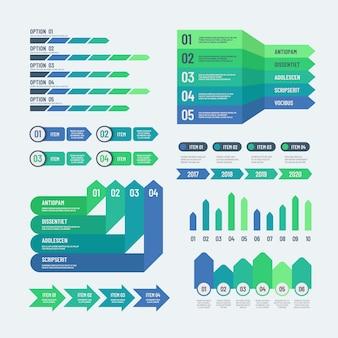 Elementos de infografía gráficos modernos cuadros de inversión diagramas de información. plantilla gráfica de información de informe web