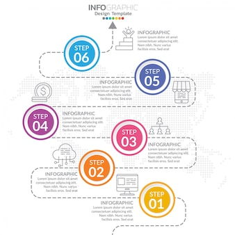 Elementos de infografía con icono y opción.