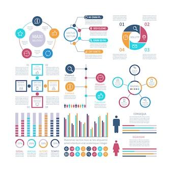 Elementos de infografía infochart moderno, tabla y gráficos de marketing, diagramas de barras gráfico de proceso de opciones para el conjunto de informes de internet