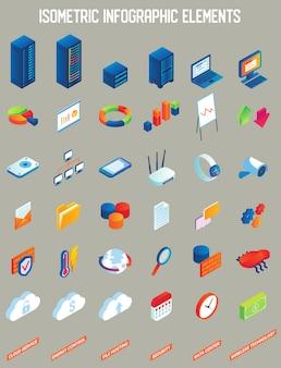 Elementos de infografía isométrica de vector de centro de datos