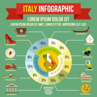 Elementos de infografía de italia en estilo plano para cualquier diseño.