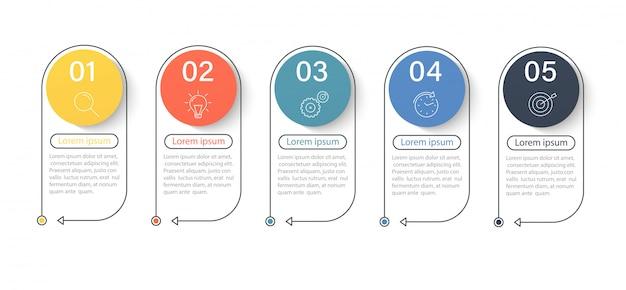 Elementos de infografía, línea de tiempo de desarrollo empresarial progresivo con iconos y opciones de 5 pasos.